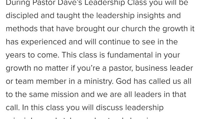 Image for 'Pastor Dave's Leadership class' campaign on Freefunder